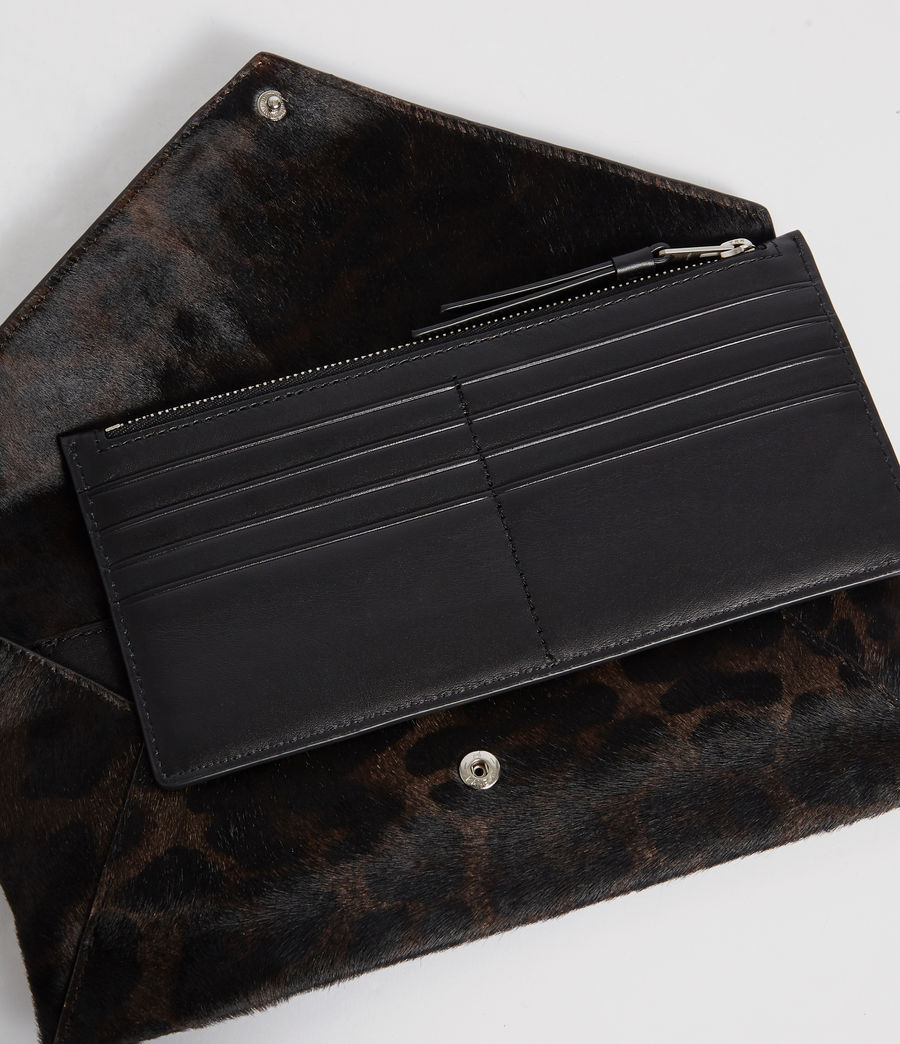 Womens Voltaire Leather Envelope Clutch (leopard_black) - Image 2
