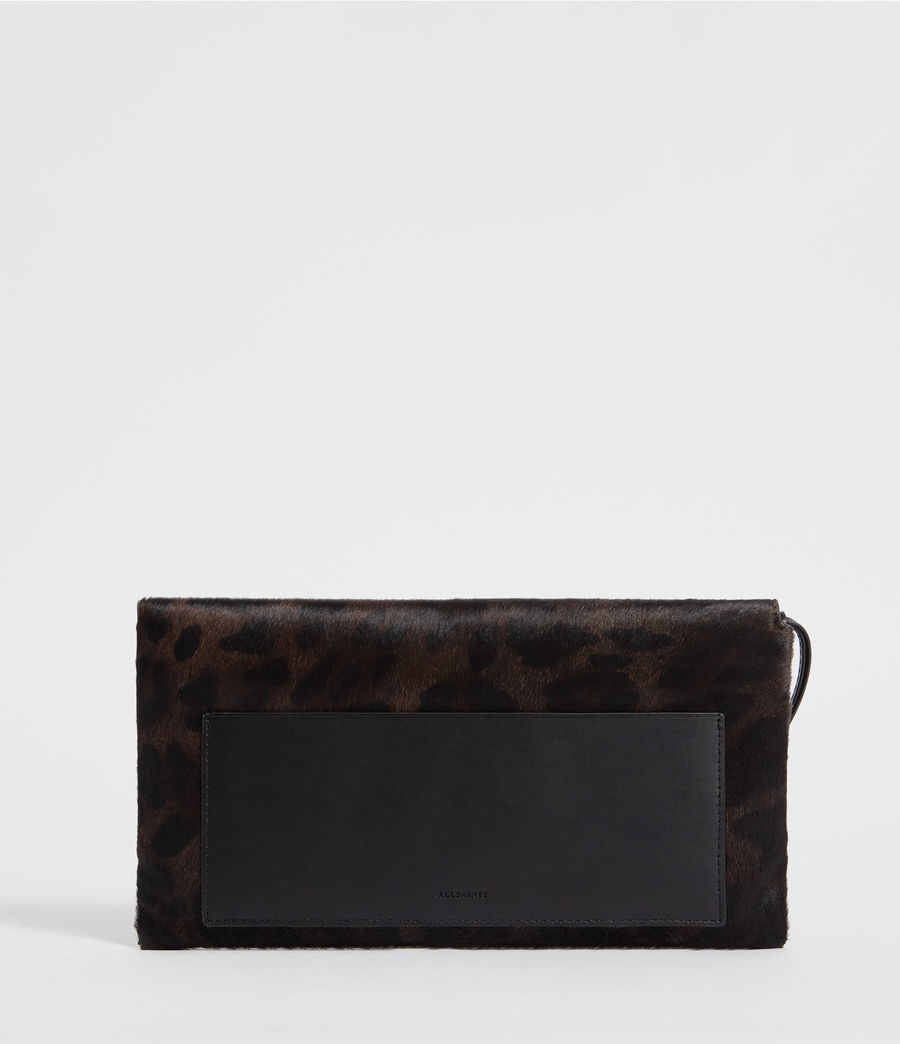 Womens Voltaire Leather Envelope Clutch (leopard_black) - Image 3