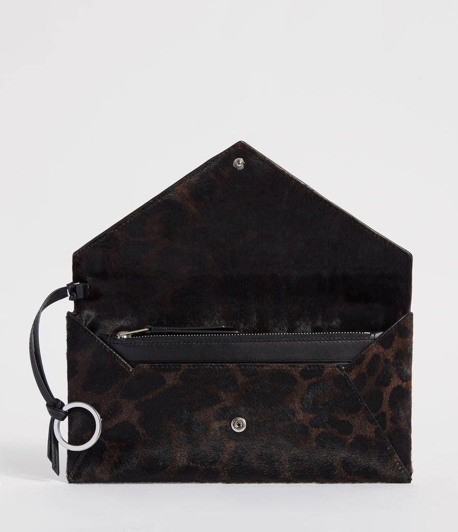 Womens Voltaire Leather Envelope Clutch (leopard_black) - Image 4