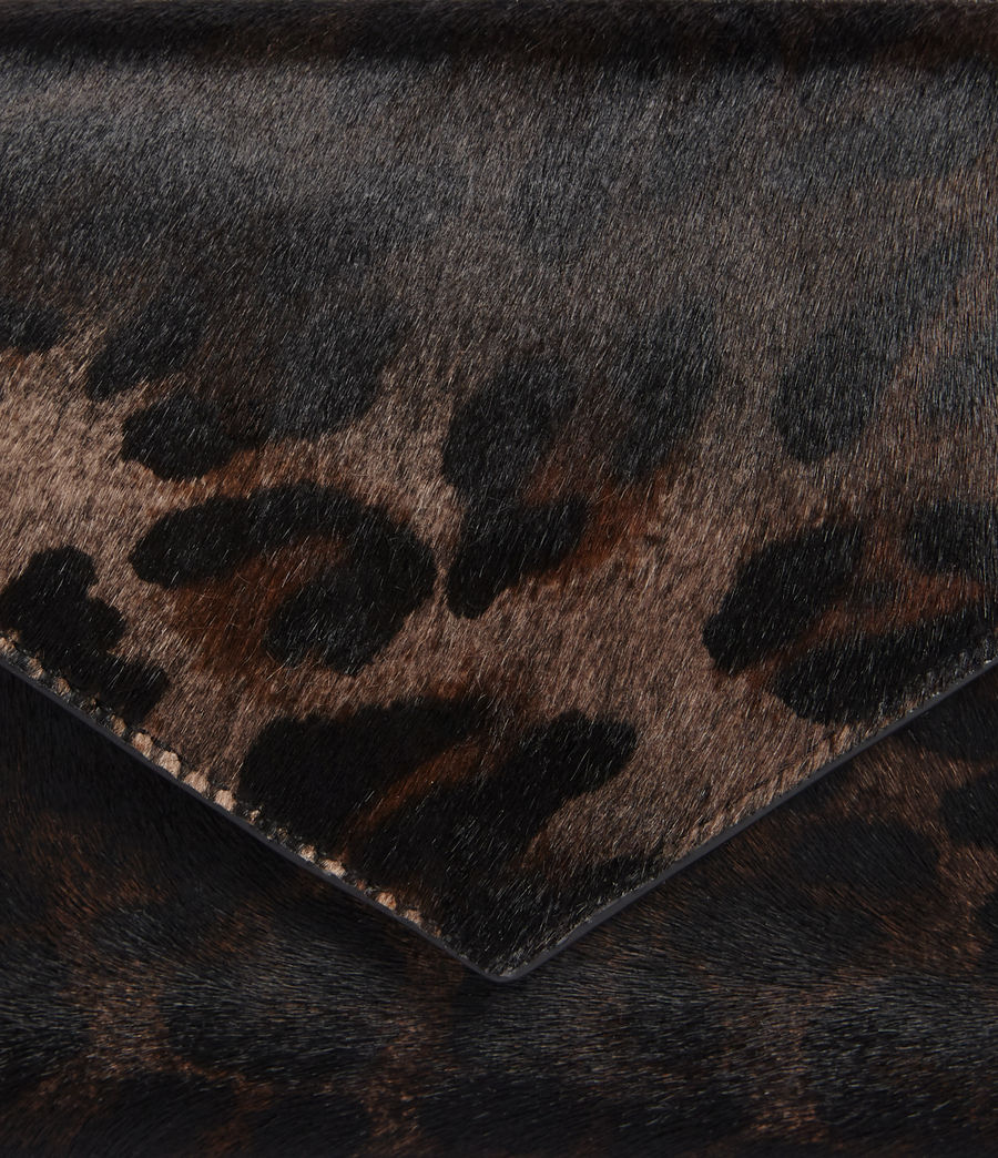 Womens Voltaire Leather Envelope Clutch (leopard_black) - Image 5