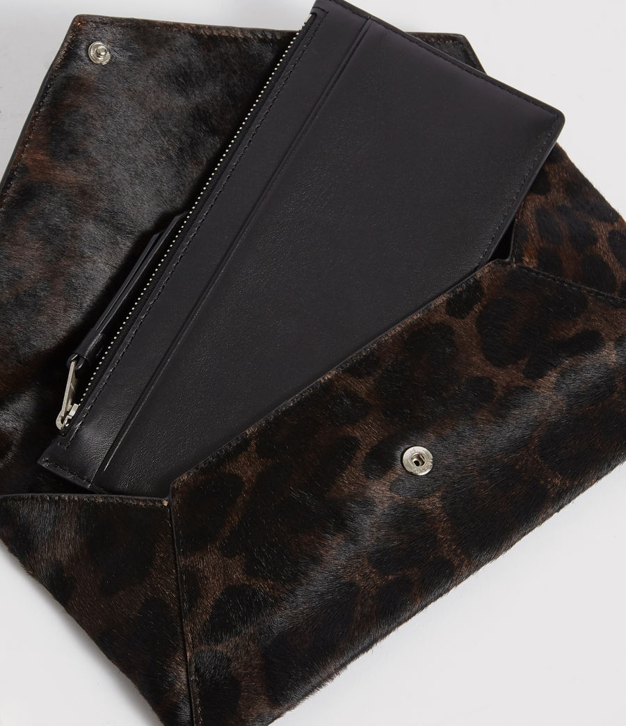 Womens Voltaire Leather Envelope Clutch (leopard_black) - Image 6