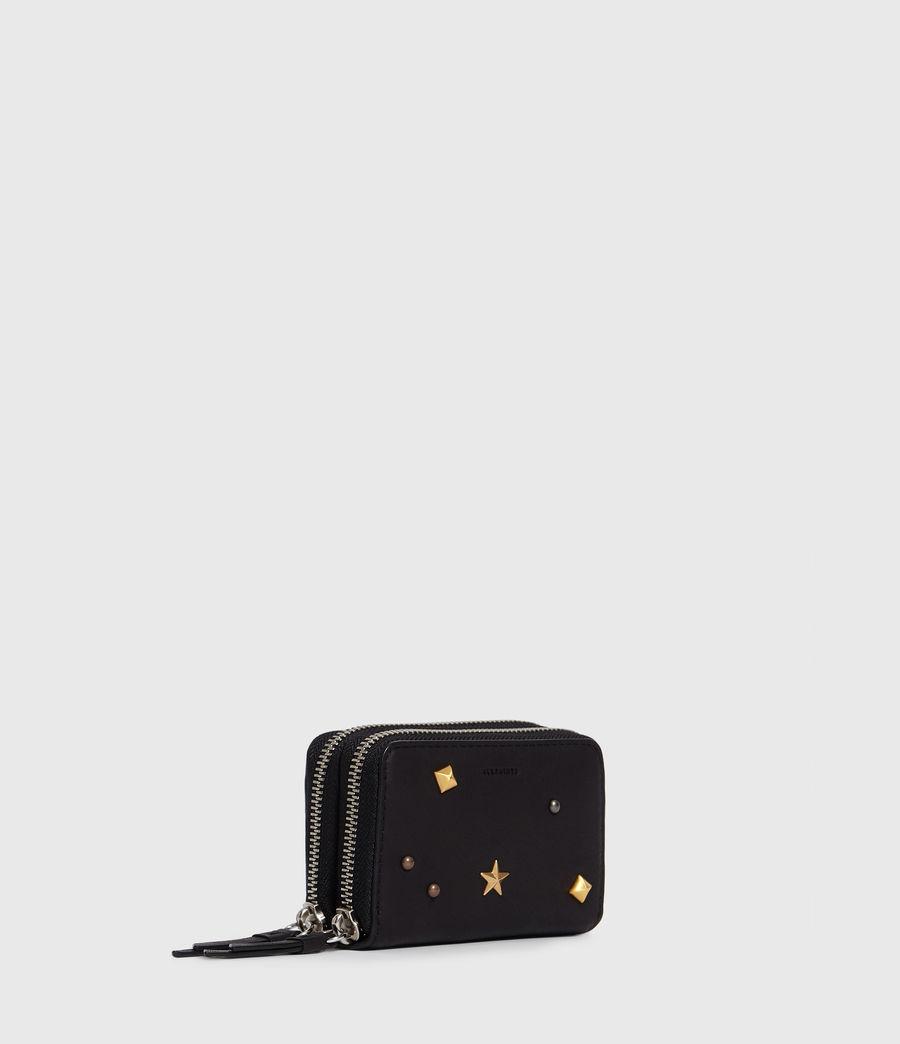 Donne Portacarte Mazzy - Realizzato a mano - In pelle con zip e borchie (black) - Image 3