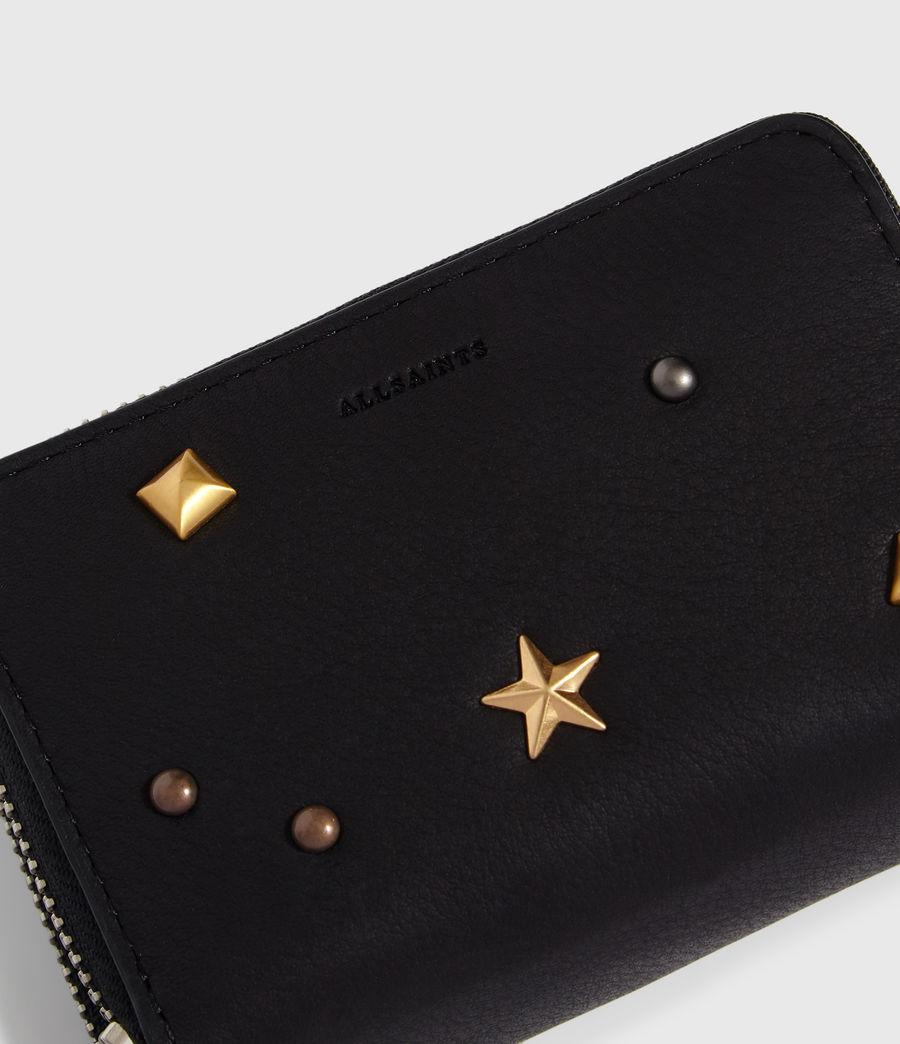 Donne Portacarte Mazzy - Realizzato a mano - In pelle con zip e borchie (black) - Image 4