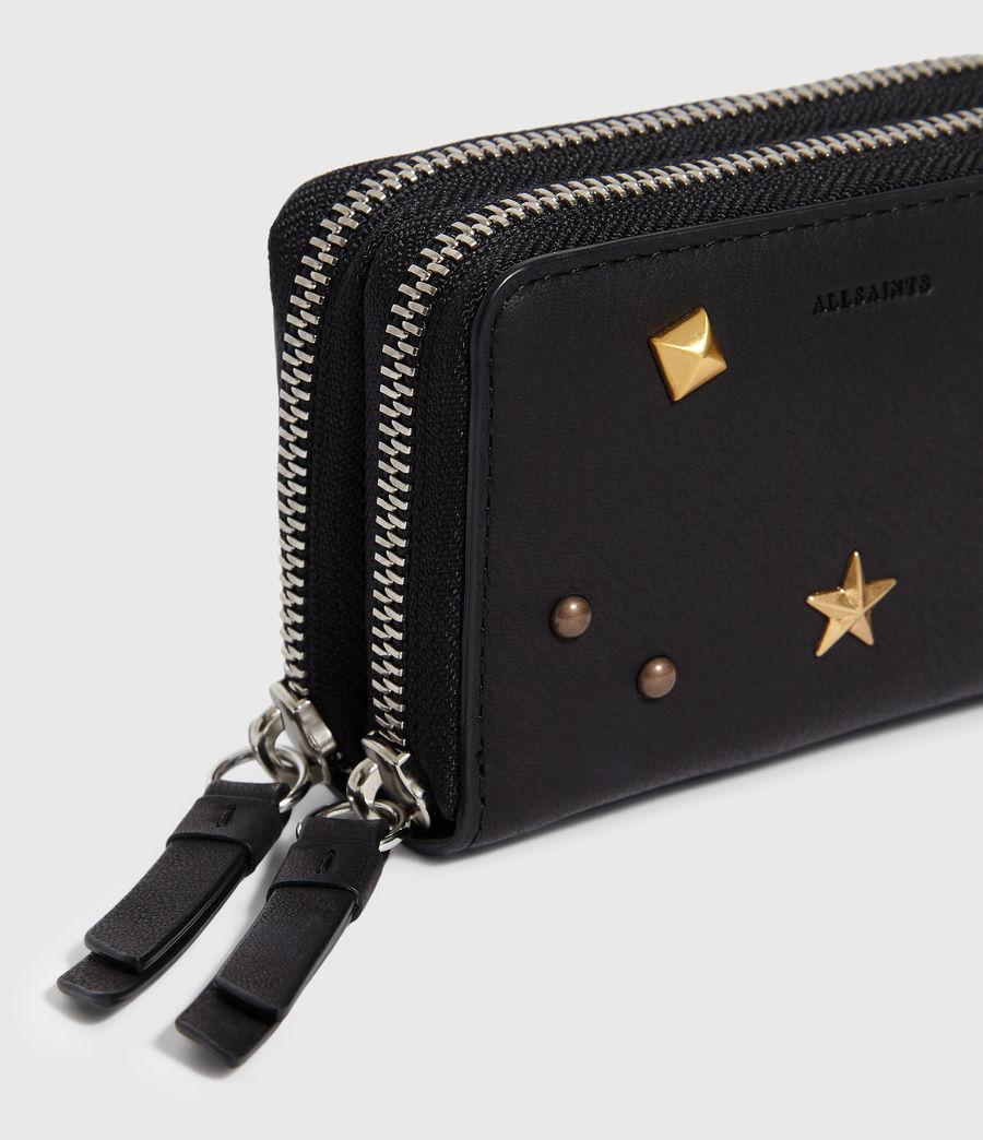 Donne Portacarte Mazzy - Realizzato a mano - In pelle con zip e borchie (black) - Image 5