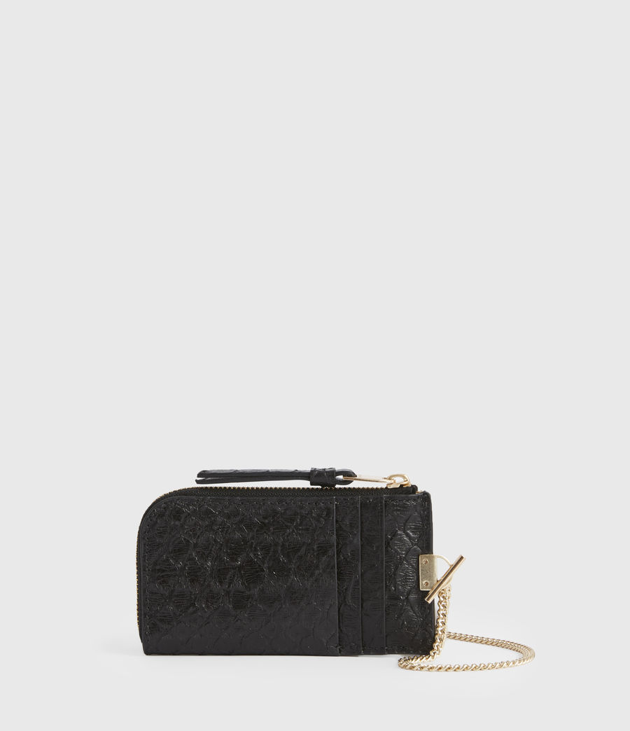 Womens Lotte Chain Leather Cardholder (black_python) - Image 1
