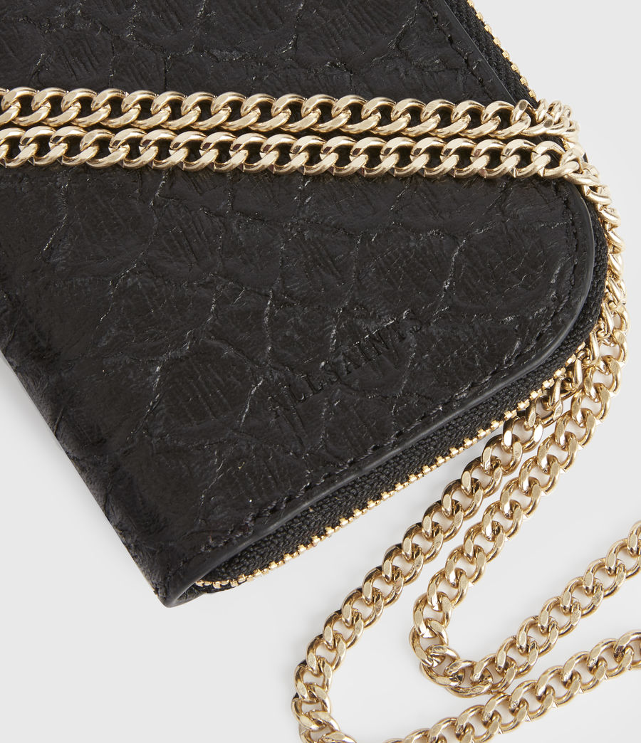 Women's Lotte Chain Leather Cardholder (black_python) - Image 4