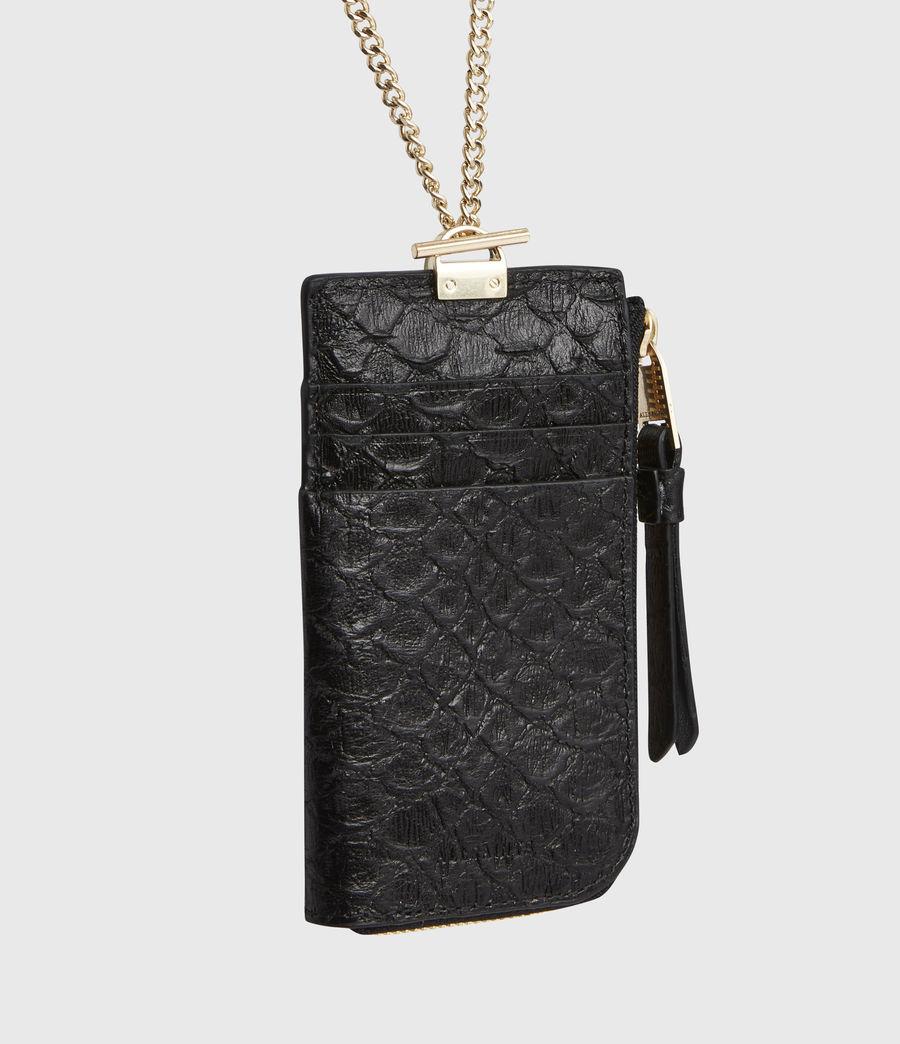 Women's Lotte Chain Leather Cardholder (black_python) - Image 5