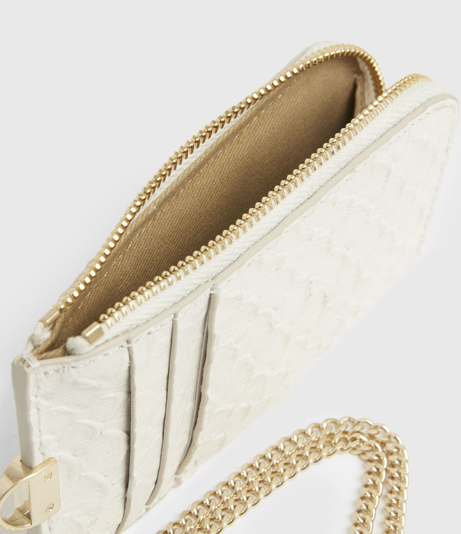 Women's Lotte Chain Leather Cardholder (roe_white) - Image 2