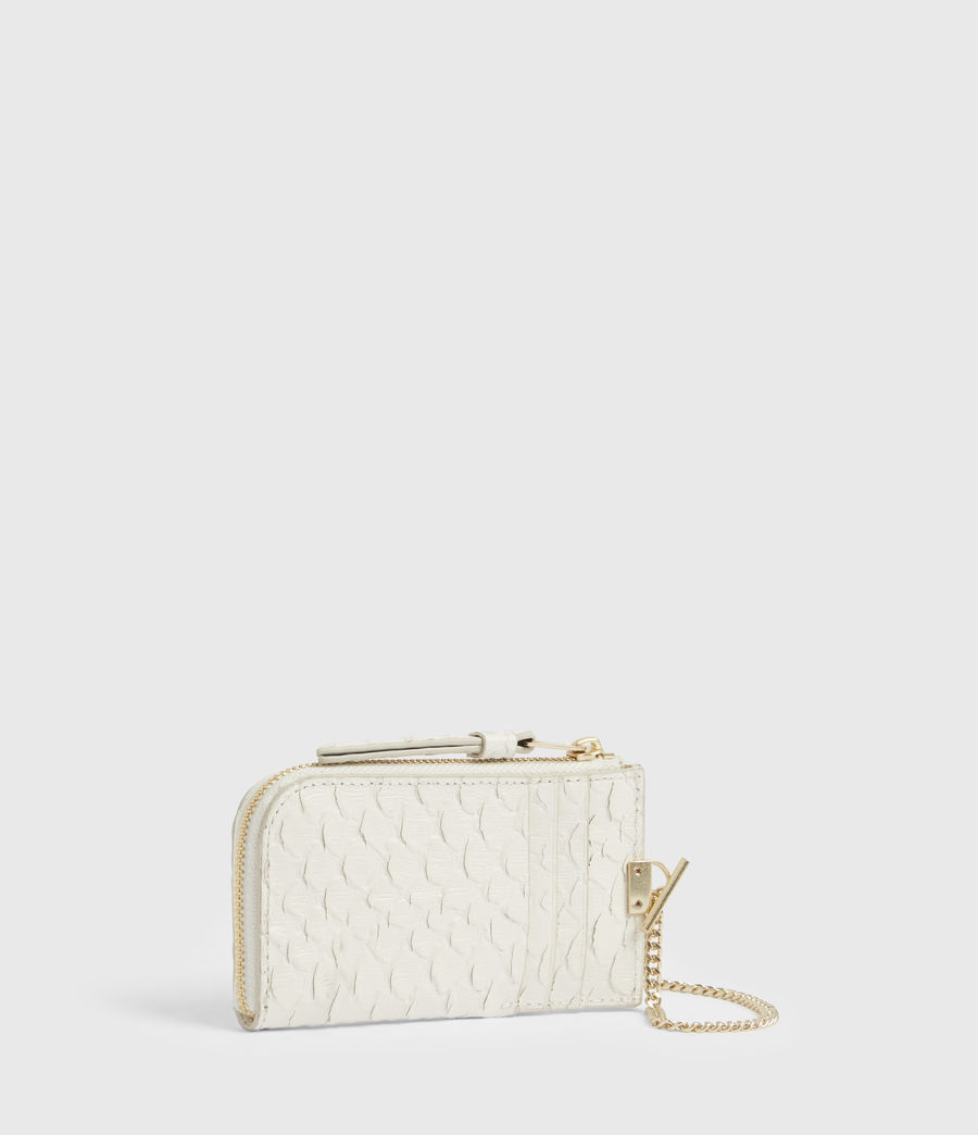 Women's Lotte Chain Leather Cardholder (roe_white) - Image 3