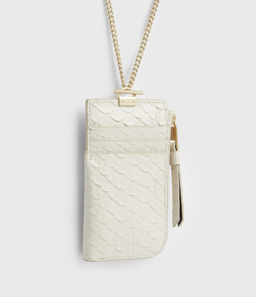 Women's Lotte Chain Leather Cardholder (roe_white) - Image 4