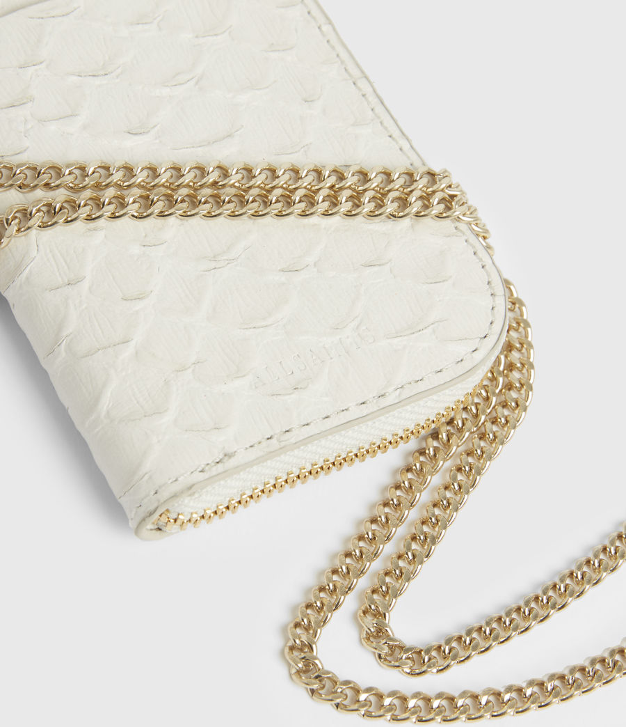 Women's Lotte Chain Leather Cardholder (roe_white) - Image 5
