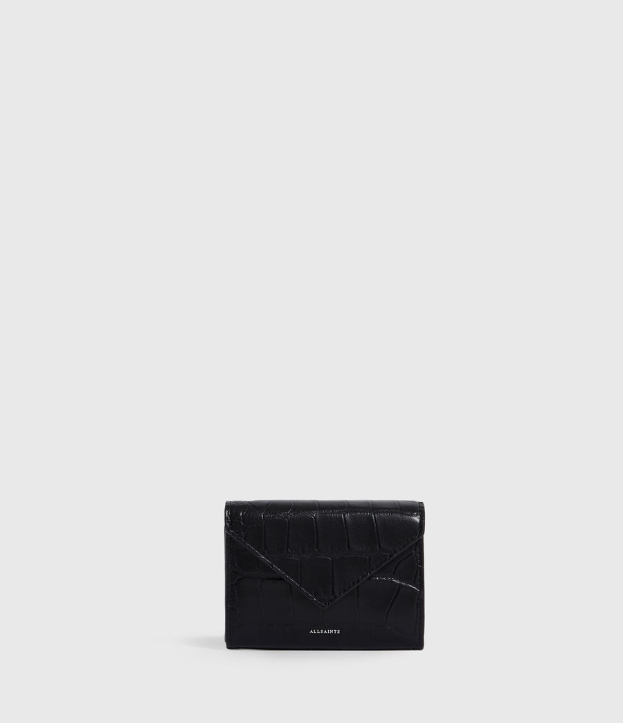 Womens Polly Flap Leather Cardholder (black) - Image 1