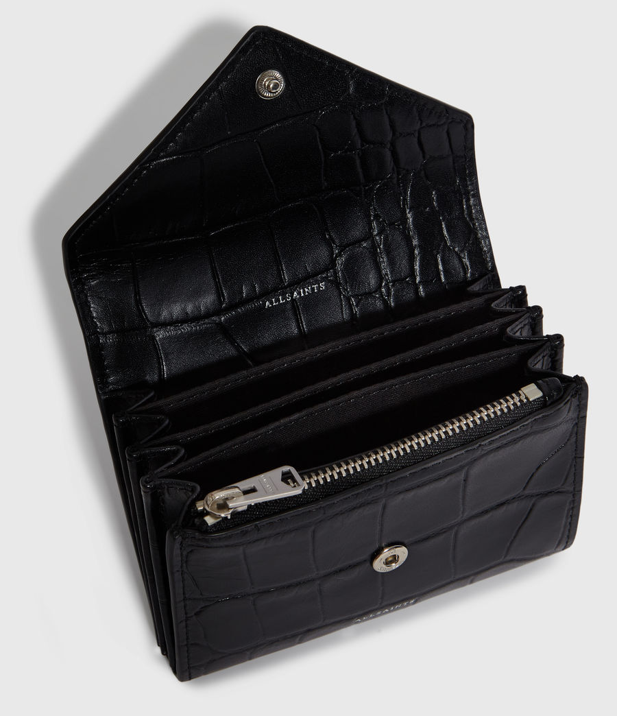 Womens Polly Flap Leather Cardholder (black) - Image 2