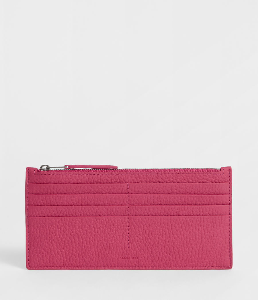 Women's Clip Leather Lea Zip Cardholder (fuschia_pink) - Image 1