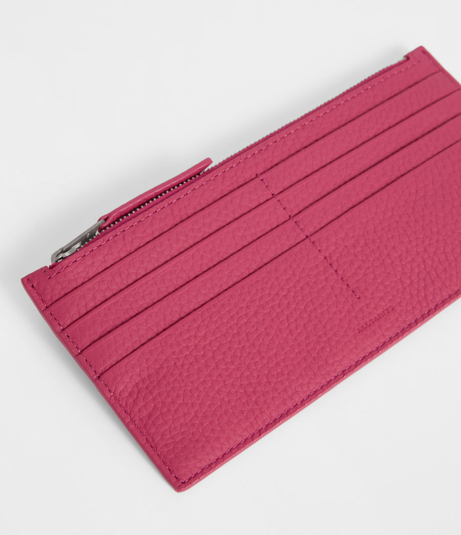 Women's Clip Leather Lea Zip Cardholder (fuschia_pink) - Image 2