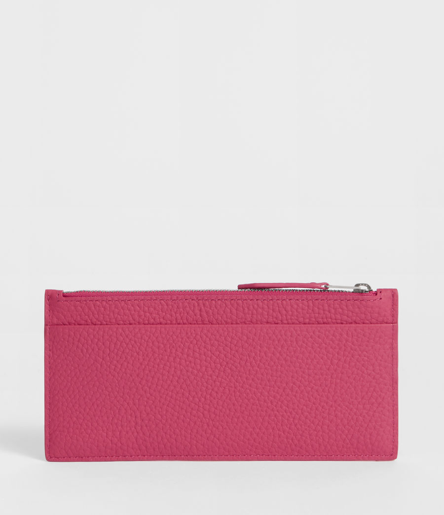 Women's Clip Leather Lea Zip Cardholder (fuschia_pink) - Image 3