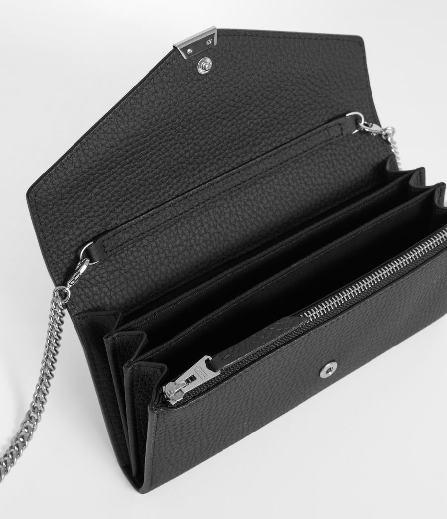 Women's Captain Leather Chain Wallet (black) - Image 2