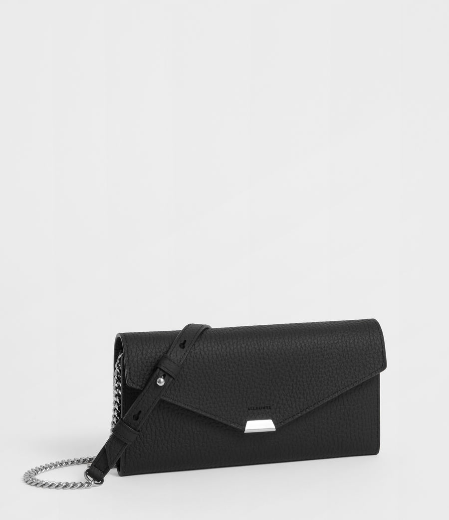 Women's Captain Leather Chain Wallet (black) - Image 3