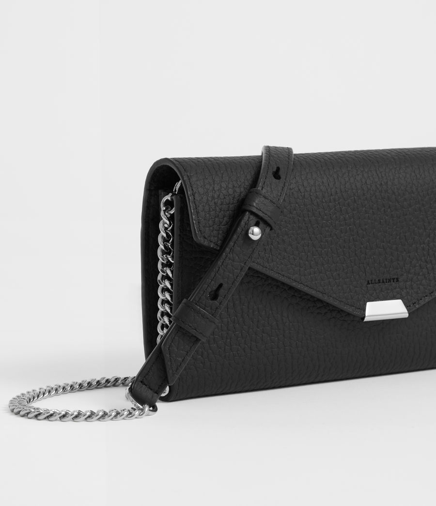 Womens Captain Leather Chain Wallet (black) - Image 4