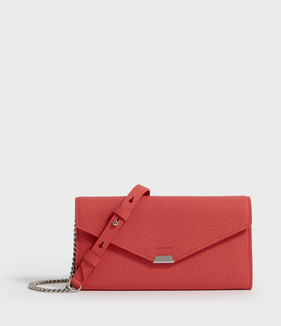 Women's Captain Chain Leather Wallet (coral_pink) - Image 1