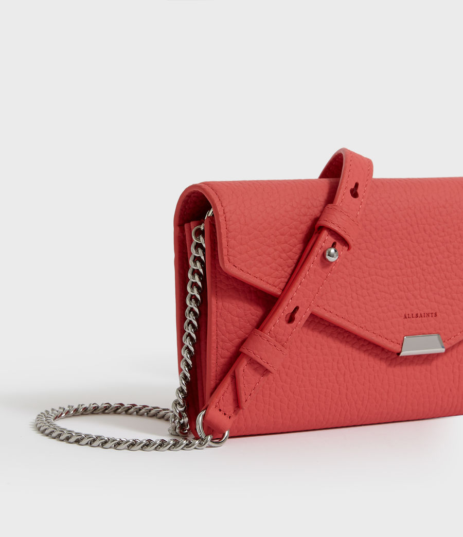 Women's Captain Chain Leather Wallet (coral_pink) - Image 2