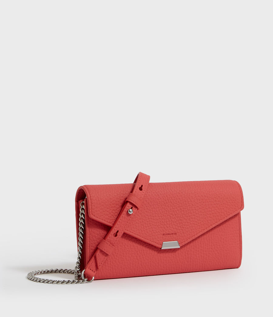 Women's Captain Chain Leather Wallet (coral_pink) - Image 3