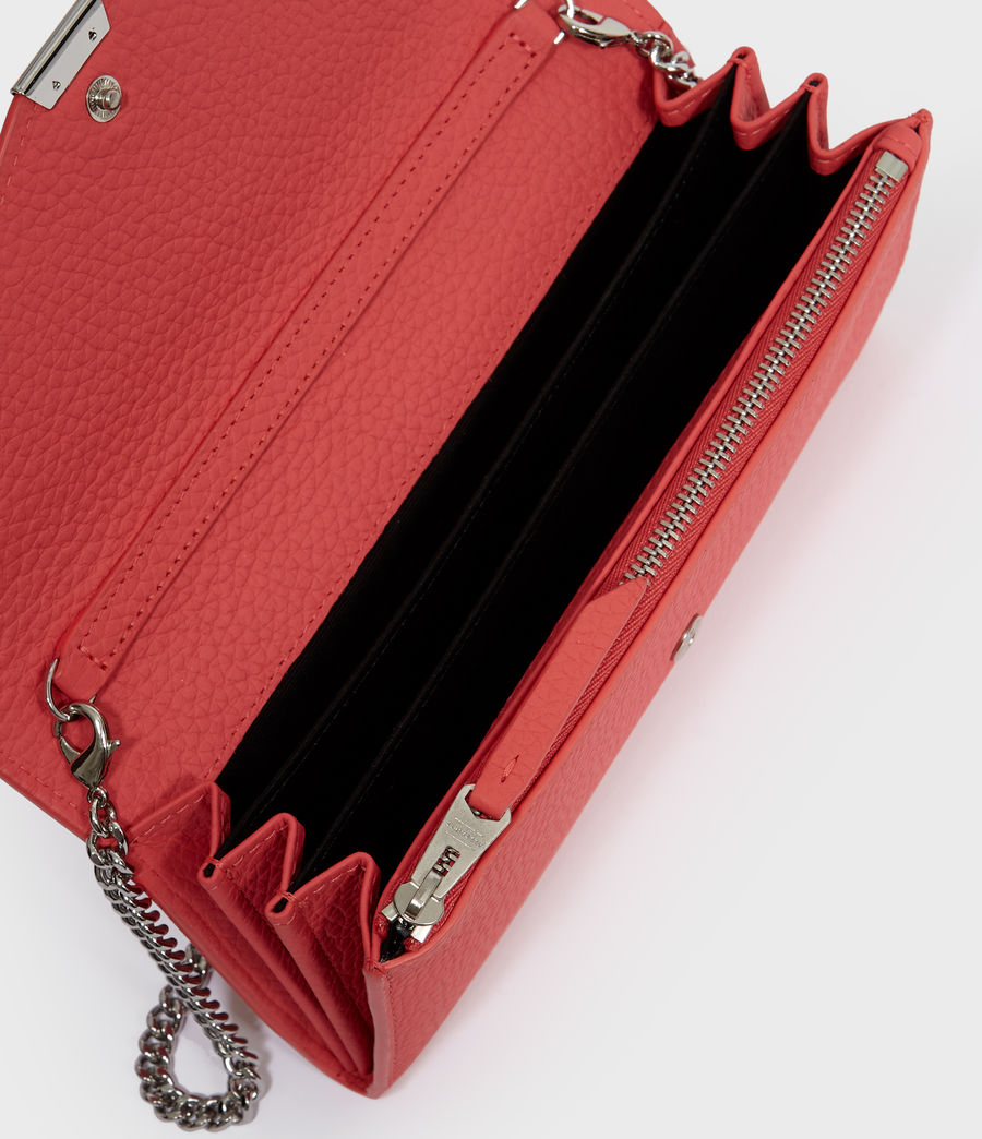 Women's Captain Chain Leather Wallet (coral_pink) - Image 4