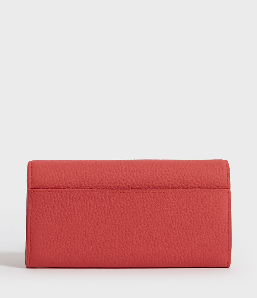 Women's Captain Chain Leather Wallet (coral_pink) - Image 6