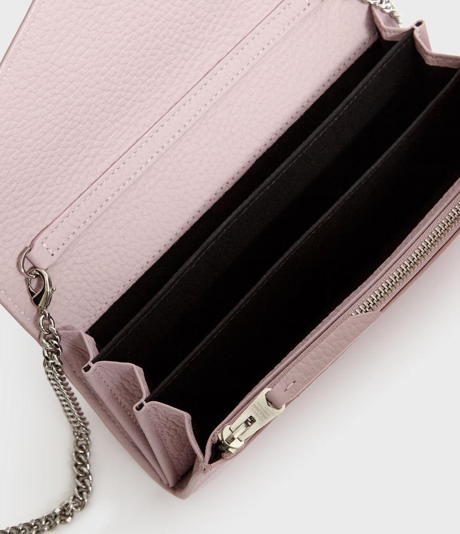 Women's Captain Leather Chain Wallet (black) - Image 3
