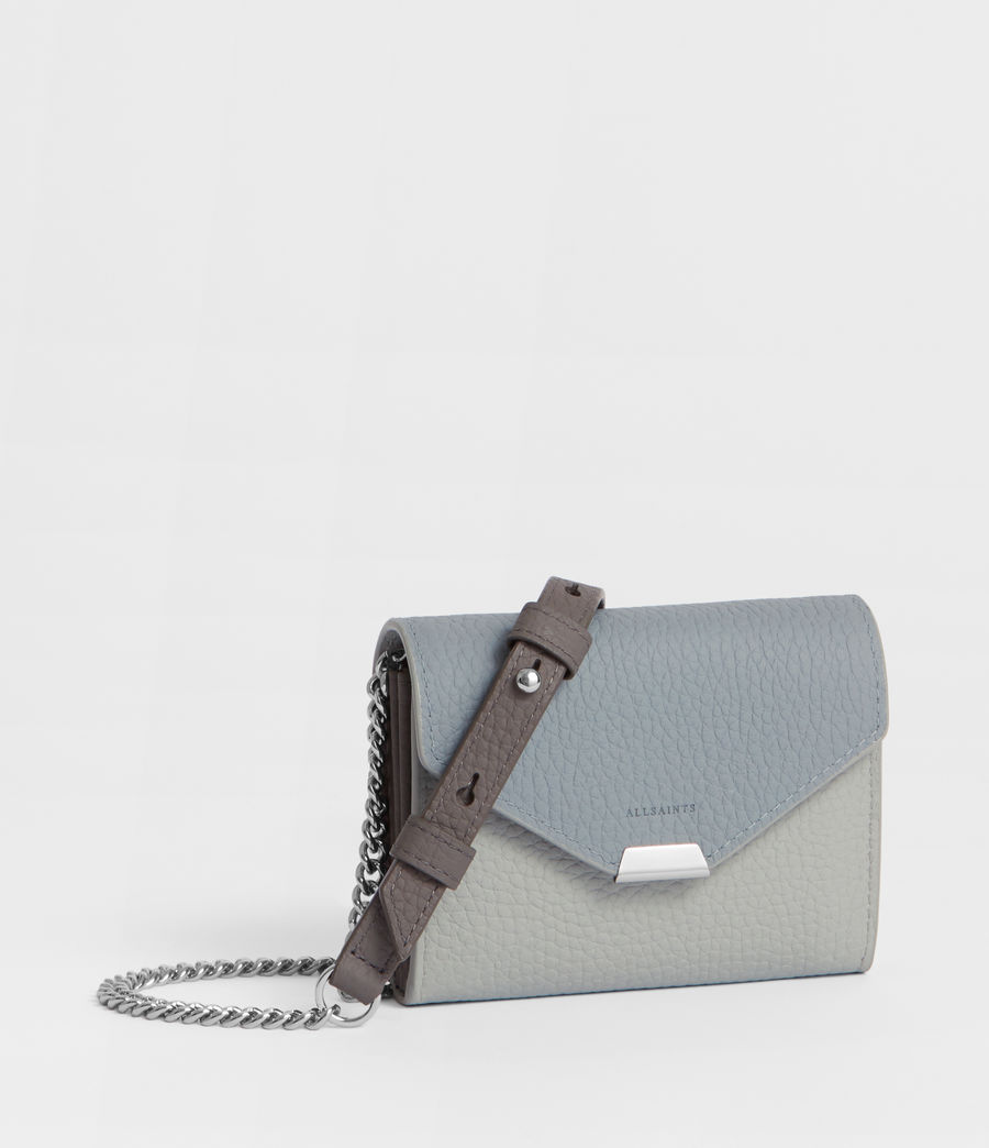 Women's Captain Leather Chain Cardholder (sky_blue) - Image 1