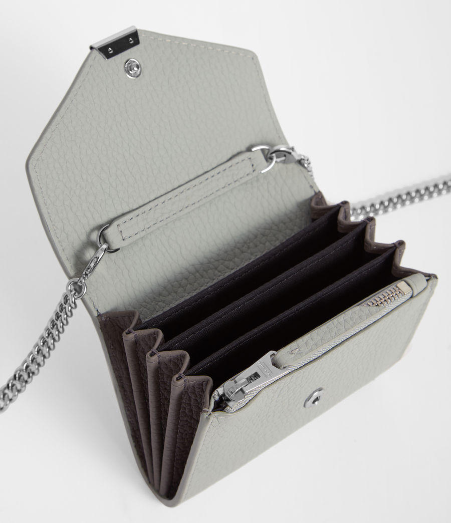 Womens Captain Leather Chain Cardholder (sky_blue) - Image 5