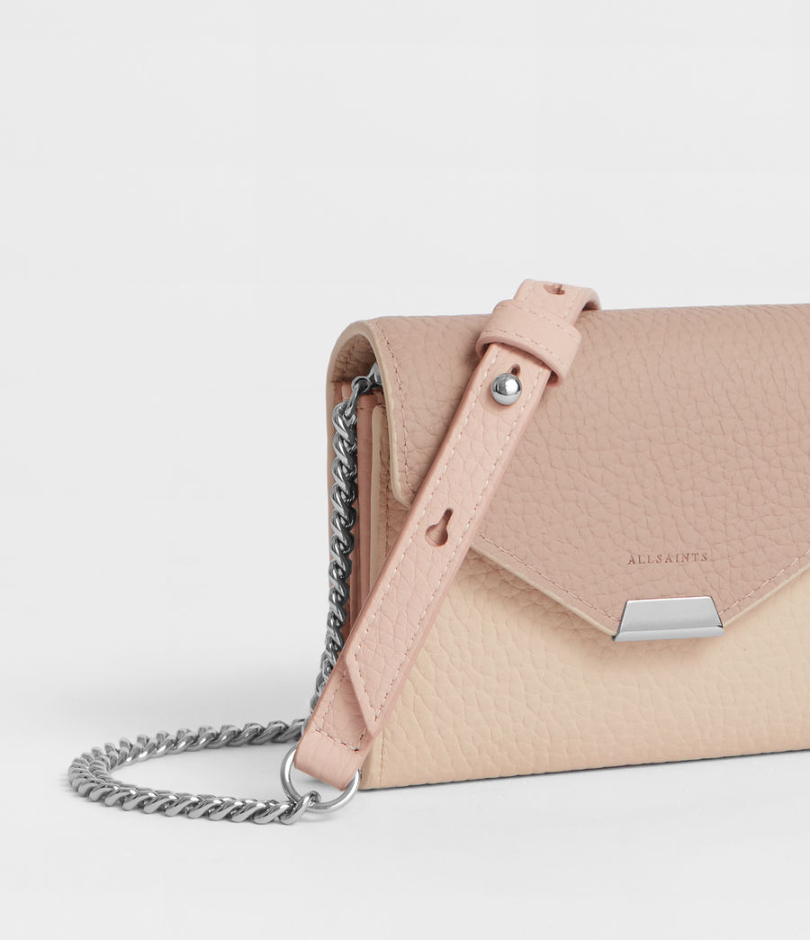 Women's Captain Leather Chain Cardholder (beige) - Image 2