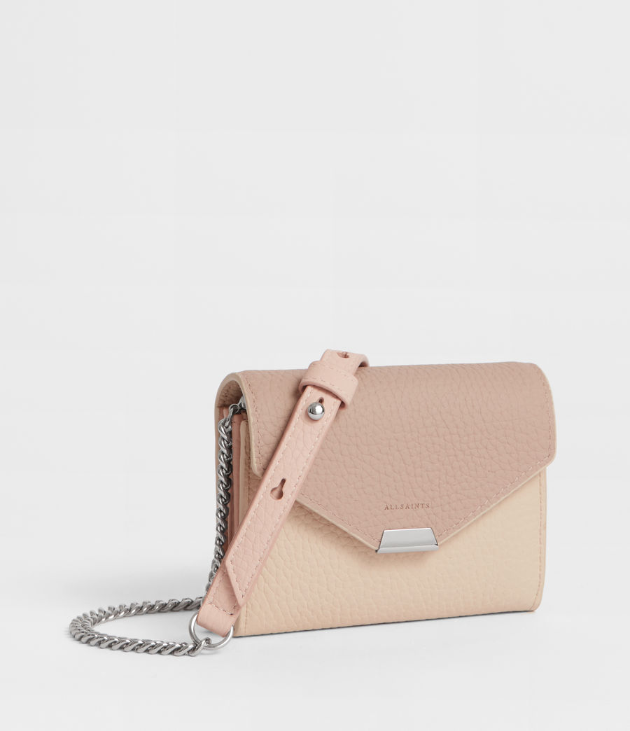 Women's Captain Leather Chain Cardholder (beige) - Image 3