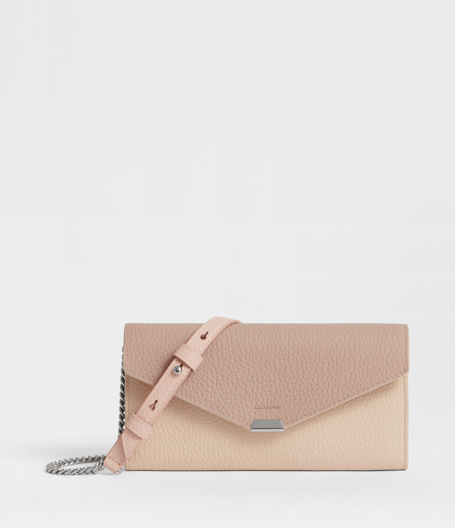 Womens Captain Chain Leather Wallet (beige) - Image 1