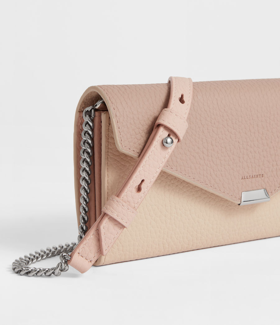 Womens Captain Chain Leather Wallet (beige) - Image 2