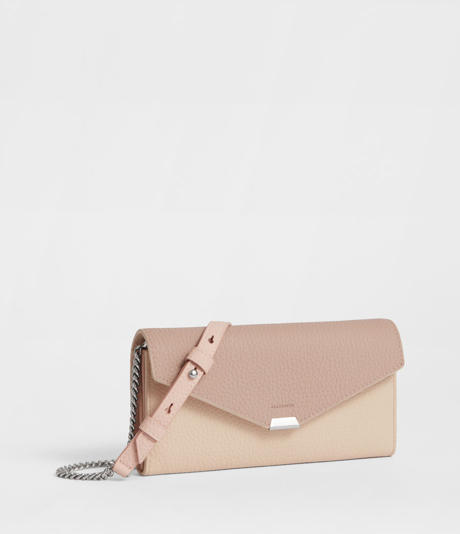Womens Captain Chain Leather Wallet (beige) - Image 3