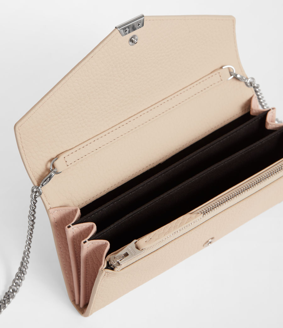 Womens Captain Chain Leather Wallet (beige) - Image 5
