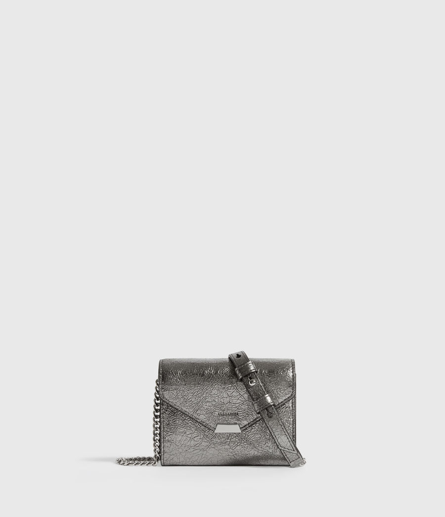 Womens Miki Lea Chain Leather Cardholder (gunsmoke_grey) - Image 1