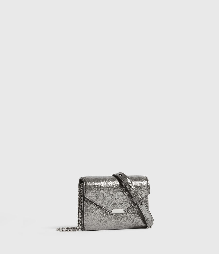 Women's Miki Lea Chain Leather Cardholder (gunsmoke_grey) - Image 3
