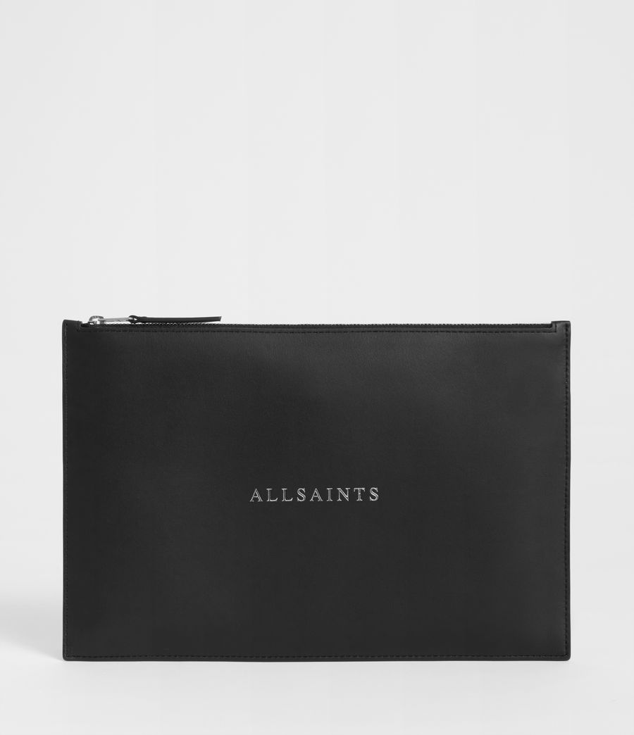 Women's Clip Leather Clutch Bag (black) - Image 1