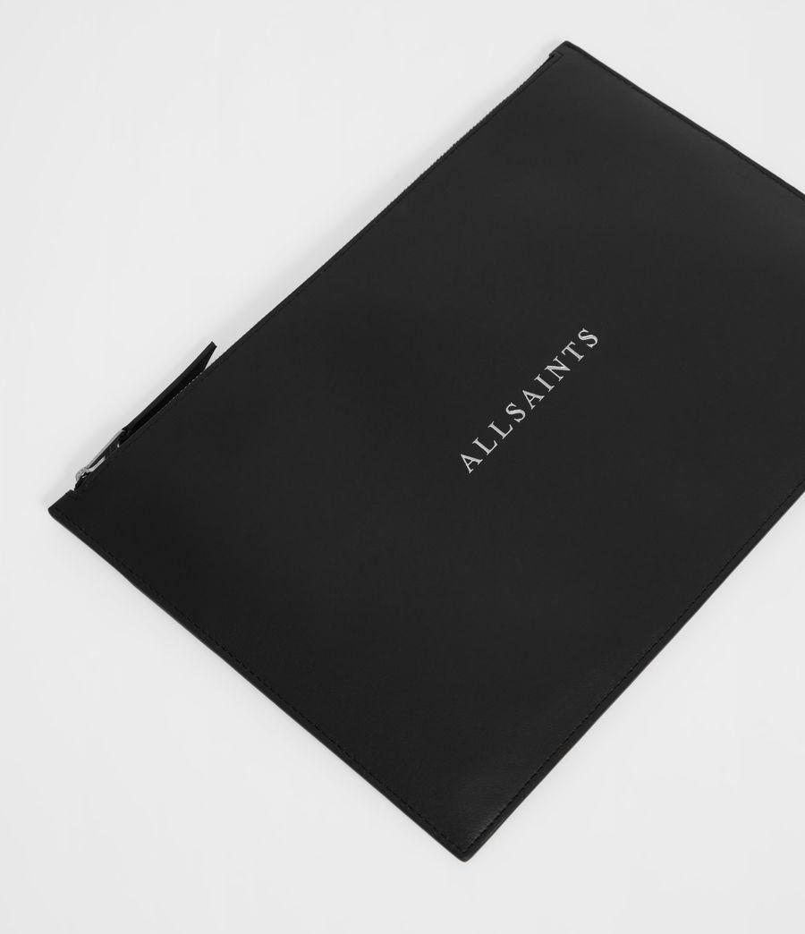 Women's Clip Leather Clutch Bag (black) - Image 2