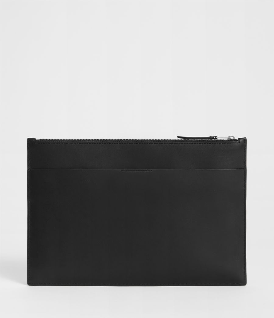 Women's Clip Leather Clutch Bag (black) - Image 3