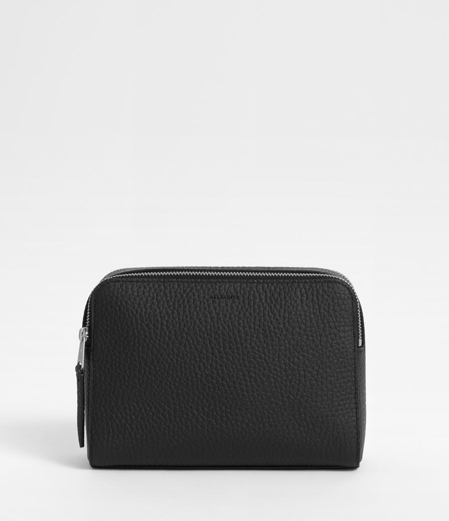 Women's Captain Leather Small Cosmetic Case (black) - Image 1