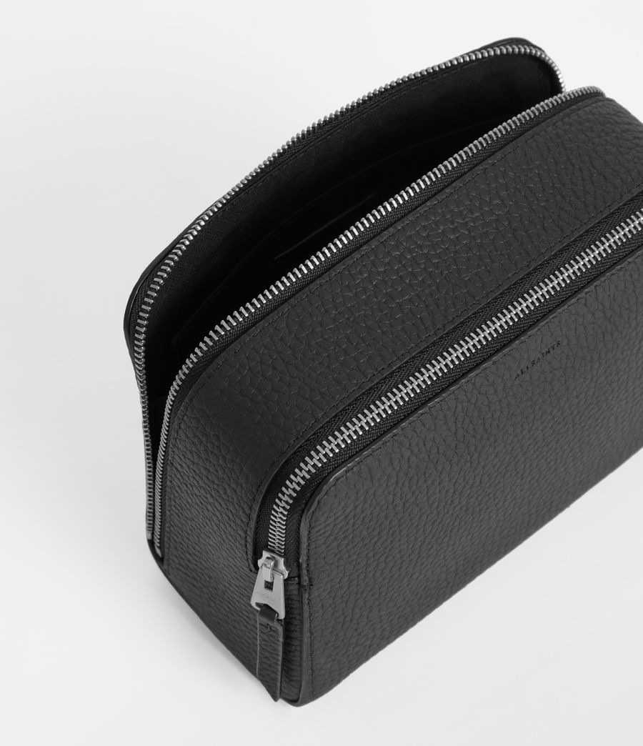 Women's Captain Leather Small Cosmetic Case (black) - Image 5