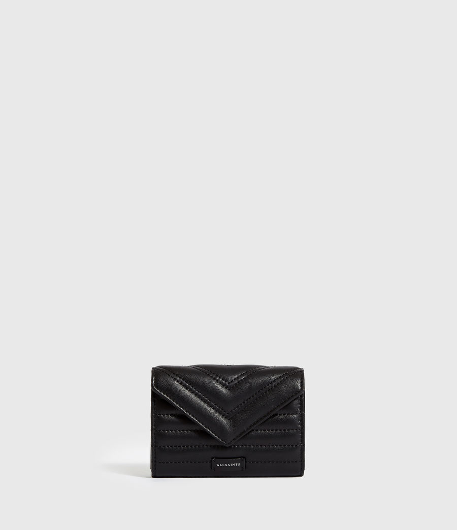 Women's Justine Flap Leather Cardholder (black) - Image 1