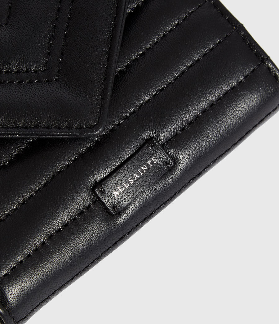 Women's Justine Flap Leather Cardholder (black) - Image 3
