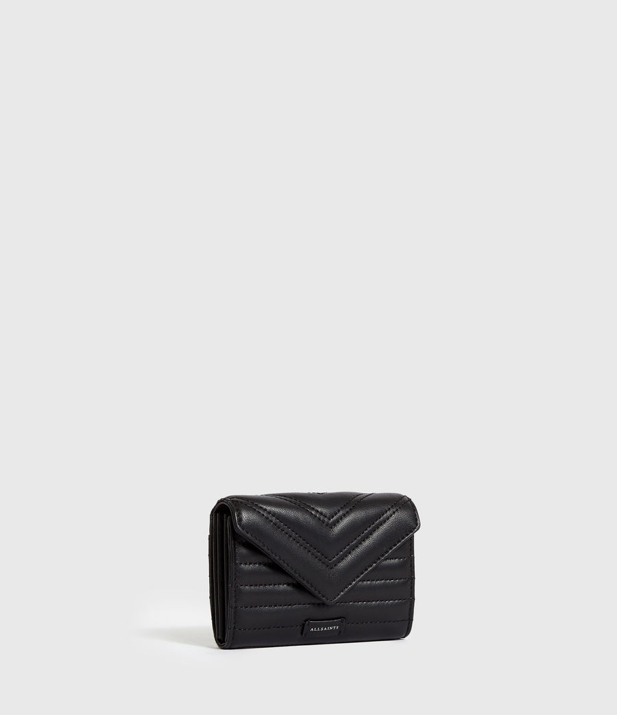 Women's Justine Flap Leather Cardholder (black) - Image 4