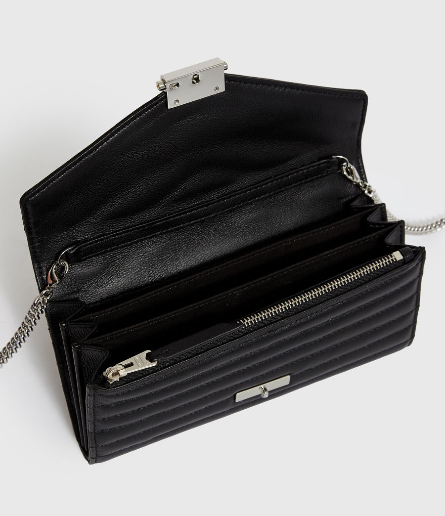Women's Justine Chain Leather Wallet (black) - Image 2