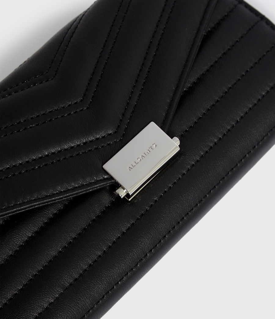 Women's Justine Chain Leather Wallet (black) - Image 3