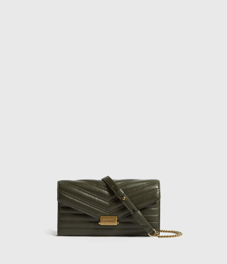 Women's Justine Chain Leather Wallet (khaki_green) - Image 1